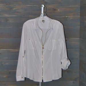 Anne Klein White Gold Zipper Blouse, Size L
